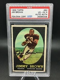 1958 topps #62 jim jimmy brown auto hof rc psa dna 4 nicely centered example
