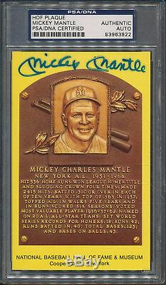1964 HOF Plaque Mickey Mantle PSA/DNA Certified Authentic Signed Auto 3922