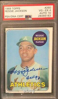 1969 Topps Reggie Jackson Signed Rc Rookie Card Psa Dna 10 Auto Inscribed Hof 93