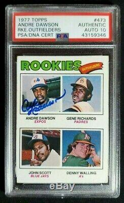 1977 Topps Andre Dawson Signed Rookie Card Autograph RC PSA/DNA 10 Auto Cubs HOF
