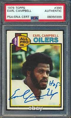 1979 Topps #390 Earl Campbell HOF RC Autographed PSA/DNA HOF Inscribed 60753