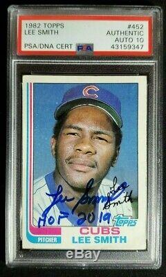 1982 Topps Lee Smith Signed Rookie Card Autograph With HOF RC PSA/DNA 10 Auto Cubs