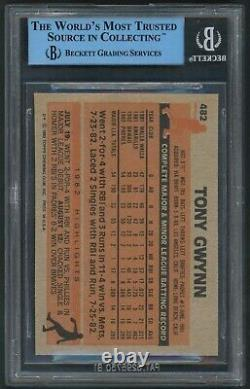 1983 Topps Tony Gwynn Padres RC #482 BGS AUTHENTIC AUTO Rookie Card HALL OF FAME