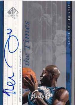 1999-00 SP Authentic KEVIN GARNETT Auto Sign of the Times Card HOF