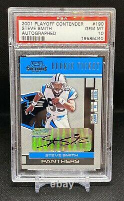 2001 Playoff Contenders Rookie Ticket Steve Smith Auto SP RC PSA 10 Rare HOF