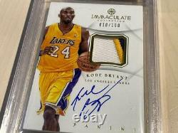 2012-13 Immaculate Kobe Bryant Auto 3 Color Patch #010/100 BGS 9 LAKERS HOF