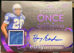 2020 Leaf In The Game Used Barry Sanders Once In A Generation Auto Patch 3/5 HOF