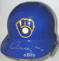 Brewers PAUL MOLITOR Signed Riddell Full Size Helmet AUTO with HOF'04 3319 HITS