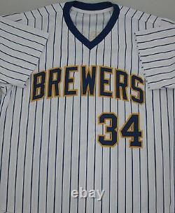 Brewers ROLLIE FINGERS #34 Signed Custom Pinstripe Jersey AUTO with HOF'92 JSA