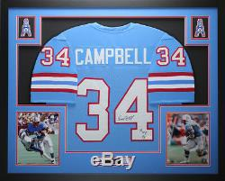 Earl Campbell Autographed HOF 91 and Framed Blue Oilers Jersey Auto JSA COA D14