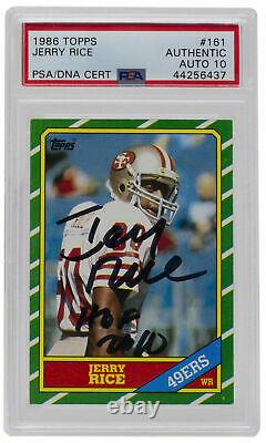 Jerry Rice Signed 1986 Topps #161 49ers Card HOF PSA/DNA Auto 10