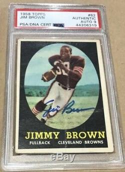 Jim Brown Cleveland Browns 1958 Topps Signed PSA 9 Mint Auto HOF RC Rookie Card