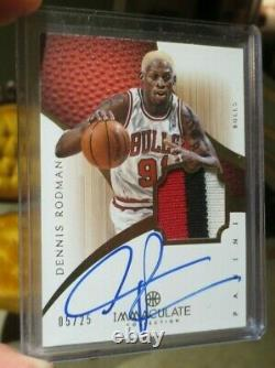 LOT OF 2 ON CARD AUTO Panini DENNIS RODMAN /25 Game Used & ALLEN IVERSON /24 HOF