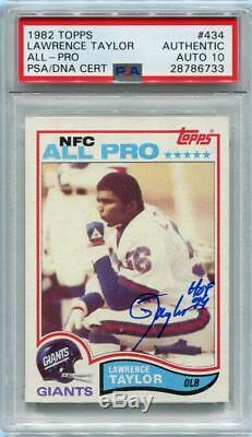Lawrence Taylor HOF 99 RC Signed 1982 Topps Rookie Card PSA Graded 10 auto