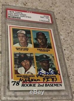 Lou Whitaker Tigers HOF 1978 Topps RC Signed Rookie Card PSA 8 Auto Magnum P