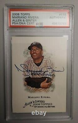 Mariano Rivera Signed #116 2008 Allen & Ginter Autographed Yankees HOF Auto PSA