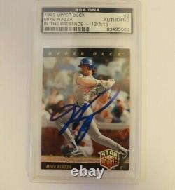 Mike Piazza Signed 1993 Upper Deck Baseball Card #2 Rookie RC HOF PSA/DNA AUTO