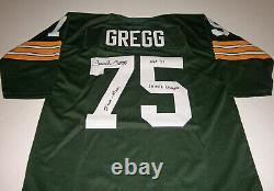 PACKERS Forrest Gregg signed STAT jersey with HOF 77 5X Champs Ironman JSA AUTO