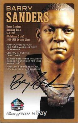 Rare Barry Sanders Signed Bronze Bust Cardpro Football Hall Of Famehof Auto