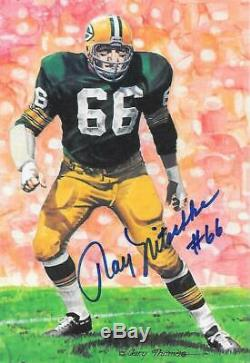 Ray Nitschke Signed Goal Line Art Cardfootball Hall Of Famehof Autogb Packers