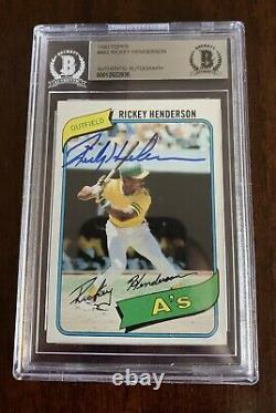 Rickey Henderson Auto Signed 1980 Topps #482 Rookie Card-Beckett Authentic HOF