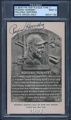 Rogers Hornsby Signed 3.5x5.5 HOF Plaque Type 2 Postcard Auto 9! PSA/DNA Slabbed