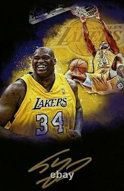 SHAQUILLE O'NEAL Signed 16x20 Canvas Photo LAKERS HOF Shaq Auto PSA/DNA COA