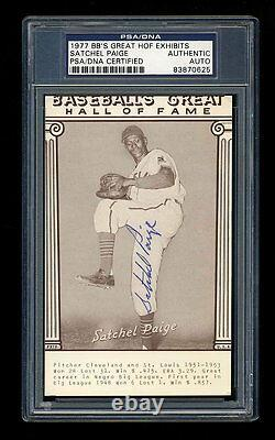 Satchel Paige Signed 1977 Exhibits Baseball's Great Hall Of Fame Psa/dna Auto