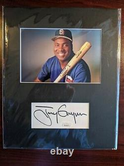 Tony Gwynn Signed Autographed Matted Photo and Autograph JSA COA Padres HOF Auto