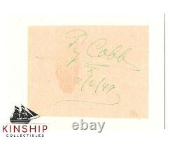 Ty Cobb signed Cut JSA LOA AUTO GRADE 9 Inscribed with Date Tigers HOF Rare Z671