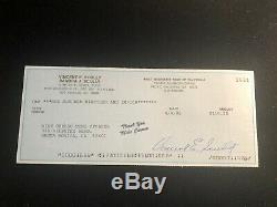 Vin Scully Signed Bank Check Los Angeles Dodgers Hall of Fame Announcer / Auto