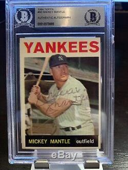 1964 # 50 Mickey Topps Mantle Hof Auto Signé Yankees Autograph