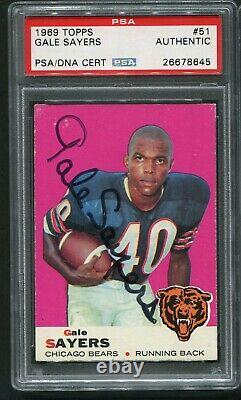 1969 Topps Gale Sayers #51 Hof Signed Autograph Auto Bears Psa Dna