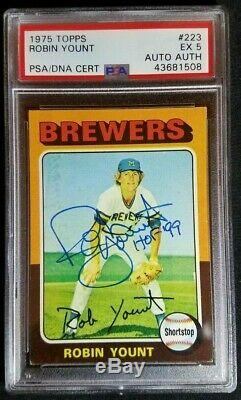 1975 # 223 Robin Topps Yount Signé Rookie Autograph Withhof Rc Auto Psa / Dna 5 Card