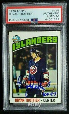 1976 Topps Bryan Trottier Signé Rookie Card Autograph Withhof Rc Psa/dna 10 Auto