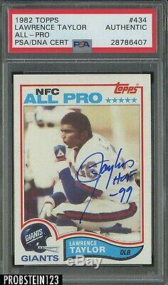 1982 # 434 Lawrence Topps Taylor Giants Rc Signé Hof 99 Auto Psa / Adn