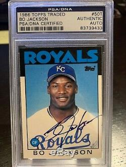 1986 Traded # 50t Topps Bo Jackson Hof Rookie Auto Signé Autograph Rc
