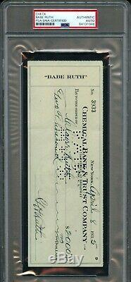 Avril 1935 Herman Babe Ruth Signé Banque Chimique Check Yankees Hof Auto Psa / Adn