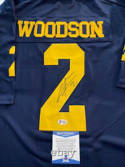 Charles Woodson A Signé Auto Michigan Jersey Beckett Coa Raiders Packers Hof