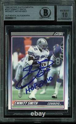 Emmitt Smith Hof 2010 Signed Card 1990 Score #101t Rc Auto Graded 10! Dalle Bas