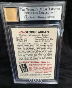 George Mikan 1996 Topps Rc Signed On Card Bgs 10 Auto 9 Card Lakers Hof Mint