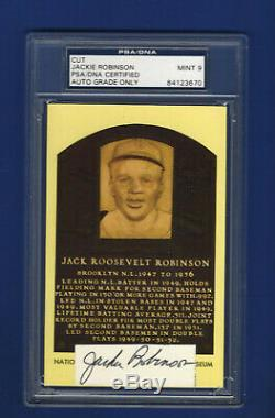 Jackie Robinson Psa Adn Mint 9 Autosigné Cooperstown Hall Of Fame Card Plaque